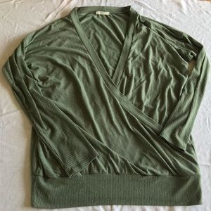 Cherish Green Wrap Style Front Low V Sweater